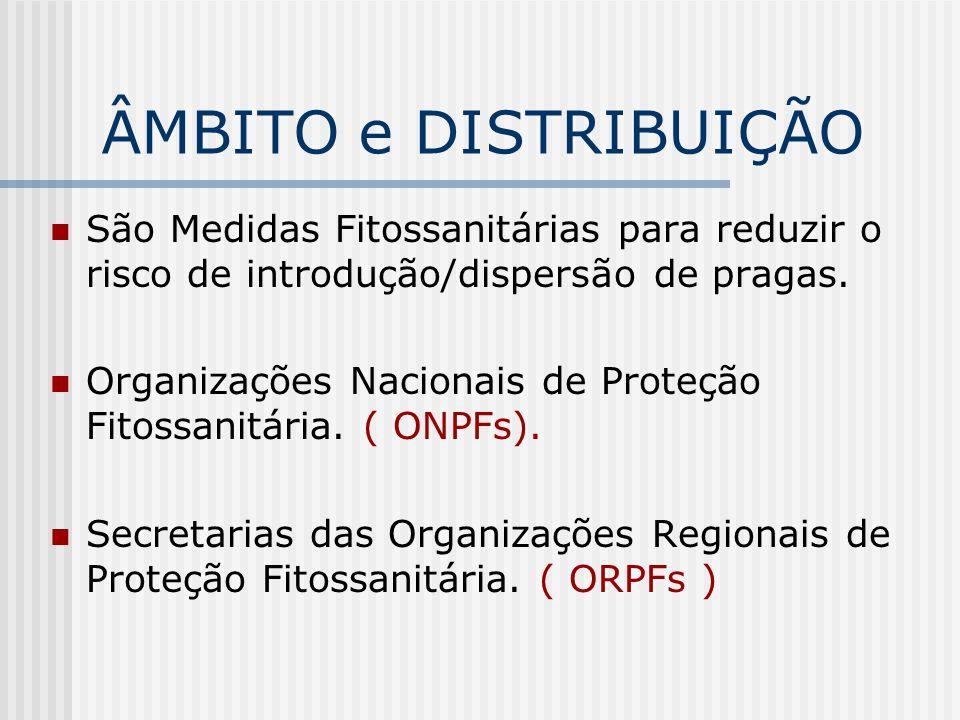 COMISSÃO DE PROTEÇÃO FITOSSANITÁRIA PARA ASIA E O PACÍFICO (APPPC) COMISSÃO DE PROTEÇÃO FITOSSANITÁRIA PARA O CARIBE (CPPC) COMITÊ REGIONAL DE SANIDADE VEGETAL PARA O CONE SUL (COSAVE) COMUNIDADE ANDINA (CA) CONSELHO FITOSSANITÁRIO INTERAFRICANO (IAPSC) ORGANIZAÇÃO EUROPÉIA E MEDITERRÂNEA DE PROTEÇÃO DAS PLANTAS (EPPO) ORGANIZAÇÃO NORTEAMERICANA DE PROTEÇÃO DAS PLANTAS (NAPPO) (APPPC ) ORGANISMO INTERNACIONAL REGIONAL DE SANIDADE AGROPECUÁRIA (OIRSA) Organização de proteção fitossanitária para o pacífico (PPPO) DISTRIBUIÇÃO - ORPFs