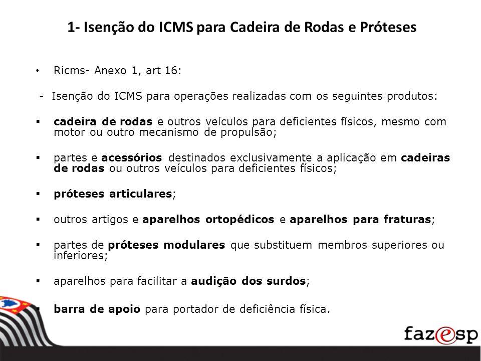 1- Isenção do ICMS para Cadeira de Rodas e Próteses Ricms- Anexo 1, art 16: - Isenção do ICMS para operações realizadas com os seguintes produtos: cad