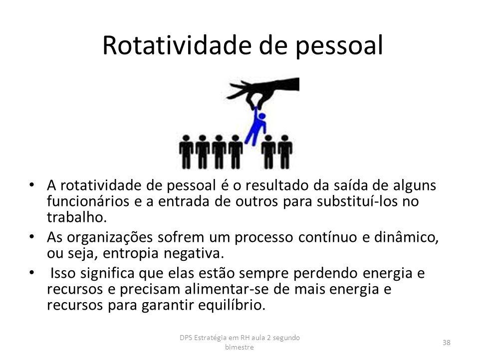 Rotatividade de pessoal A rotatividade de pessoal é o resultado da saída de alguns funcionários e a entrada de outros para substituí-los no trabalho.