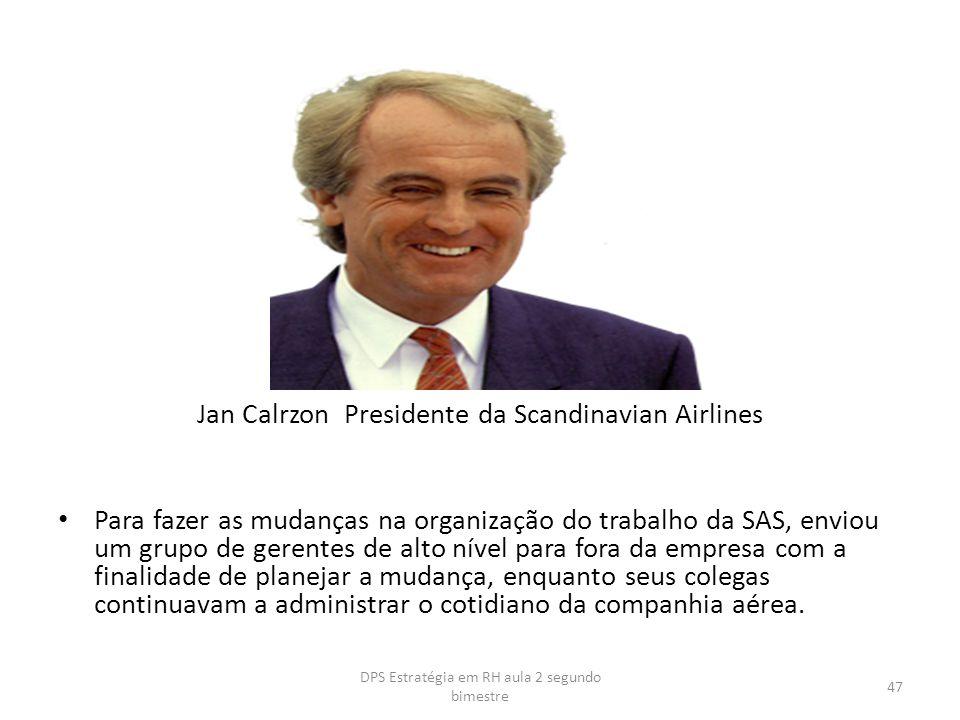 Jan Calrzon Presidente da Scandinavian Airlines Para fazer as mudanças na organização do trabalho da SAS, enviou um grupo de gerentes de alto nível pa