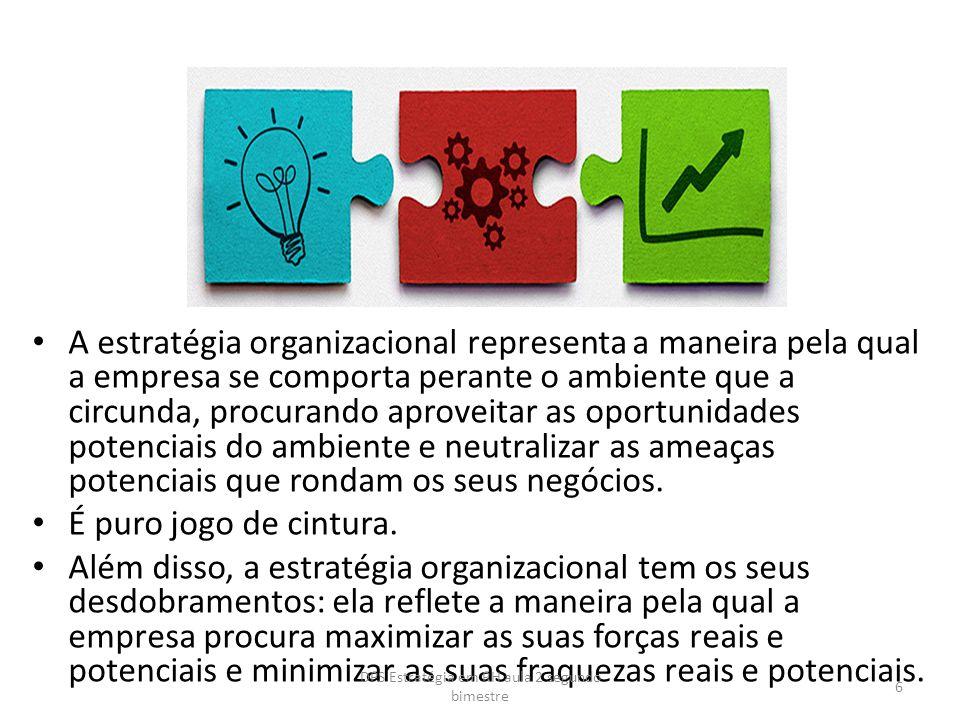 A estratégia organizacional representa a maneira pela qual a empresa se comporta perante o ambiente que a circunda, procurando aproveitar as oportunid