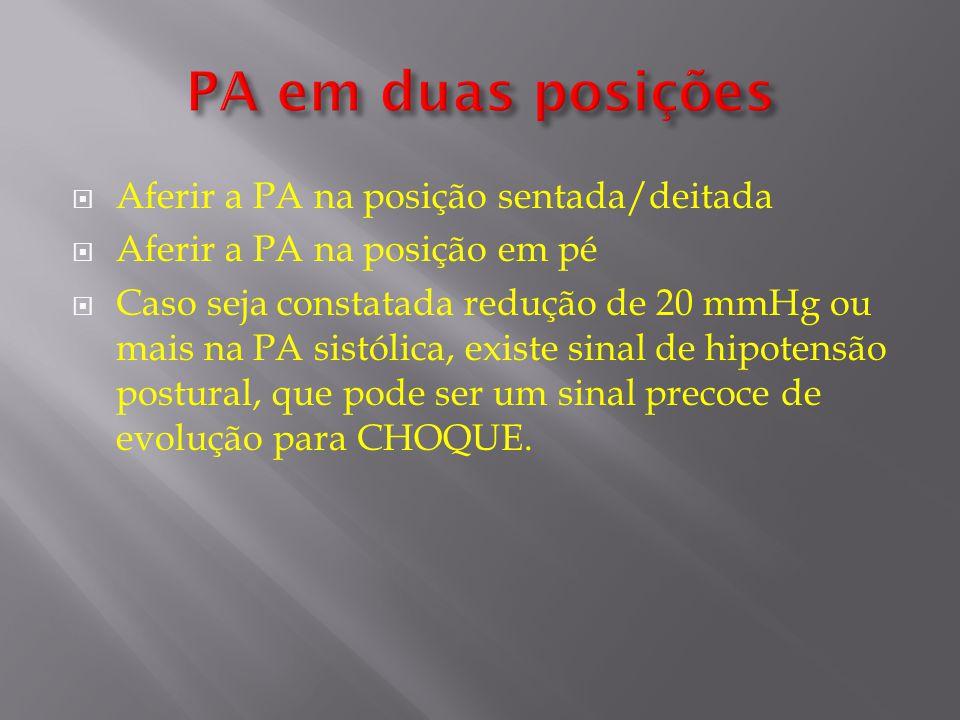 Aferir a PA na posição sentada/deitada Aferir a PA na posição em pé Caso seja constatada redução de 20 mmHg ou mais na PA sistólica, existe sinal de h