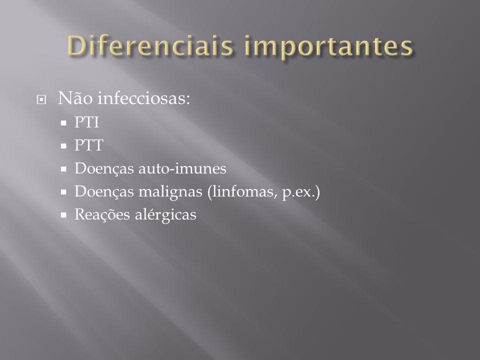 Não infecciosas: PTI PTT Doenças auto-imunes Doenças malignas (linfomas, p.ex.) Reações alérgicas