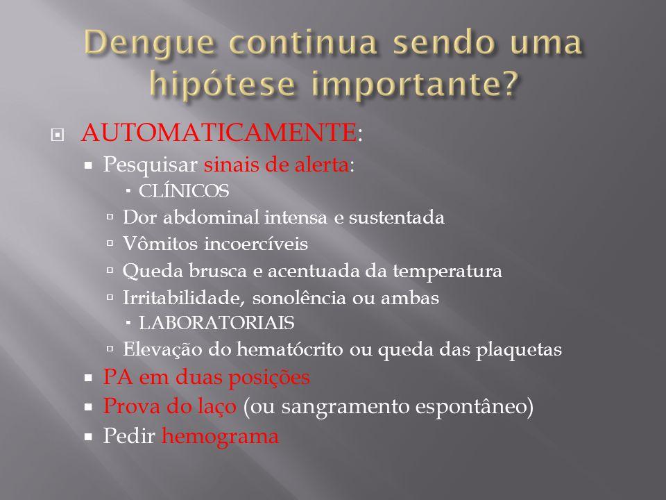 AUTOMATICAMENTE: Pesquisar sinais de alerta: CLÍNICOS Dor abdominal intensa e sustentada Vômitos incoercíveis Queda brusca e acentuada da temperatura