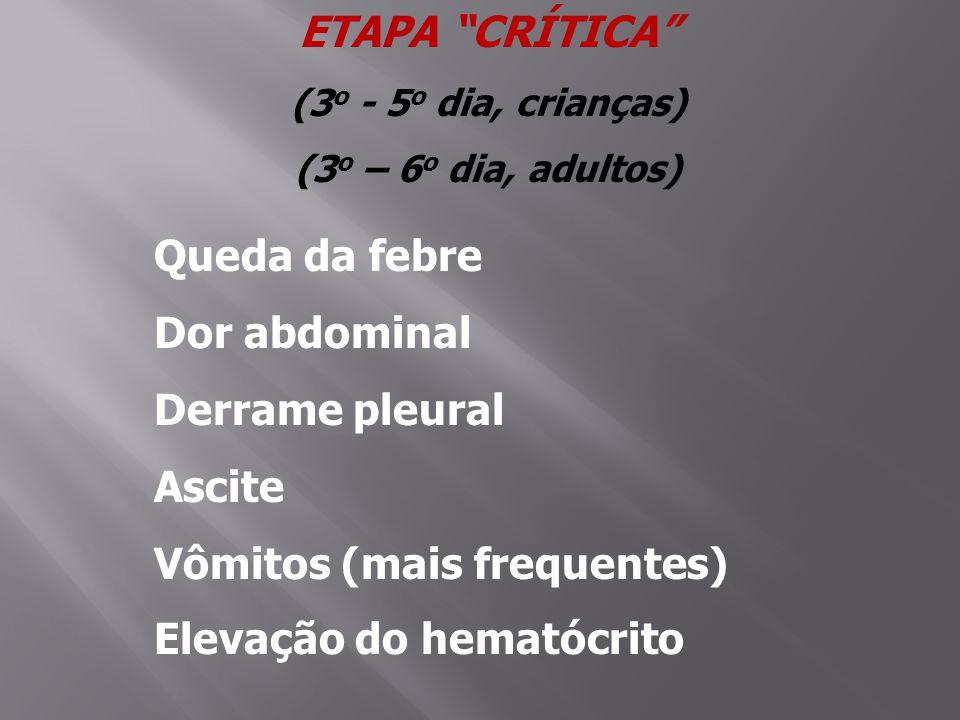 ETAPA CRÍTICA (3 o - 5 o dia, crianças) (3 o – 6 o dia, adultos) Queda da febre Dor abdominal Derrame pleural Ascite Vômitos (mais frequentes) Elevação do hematócrito