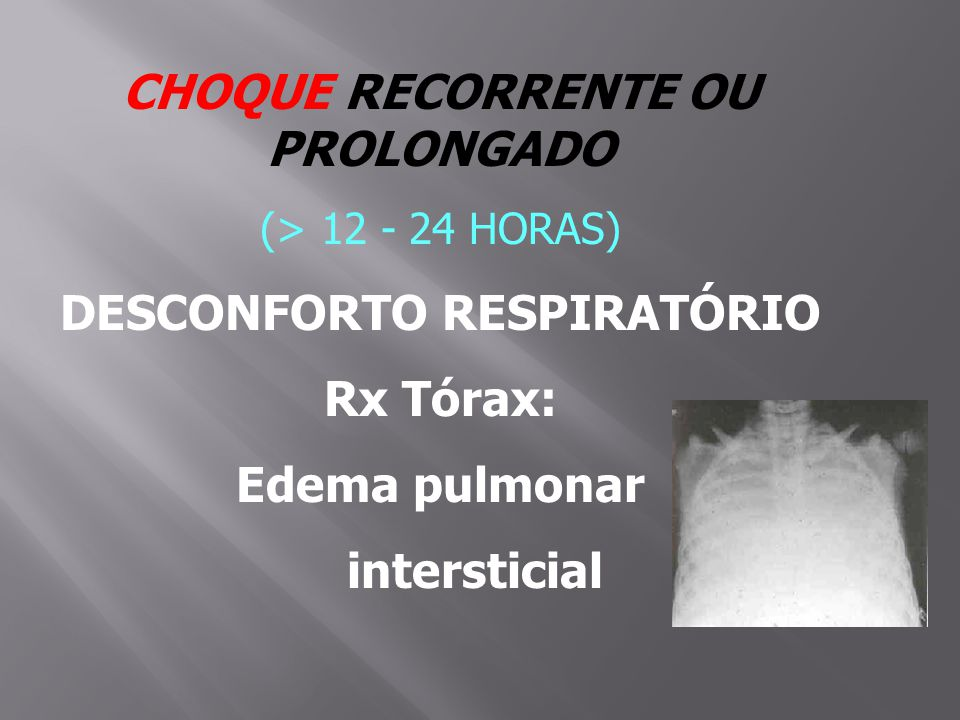 CHOQUE RECORRENTE OU PROLONGADO (> 12 - 24 HORAS) DESCONFORTO RESPIRATÓRIO Rx Tórax: Edema pulmonar intersticial