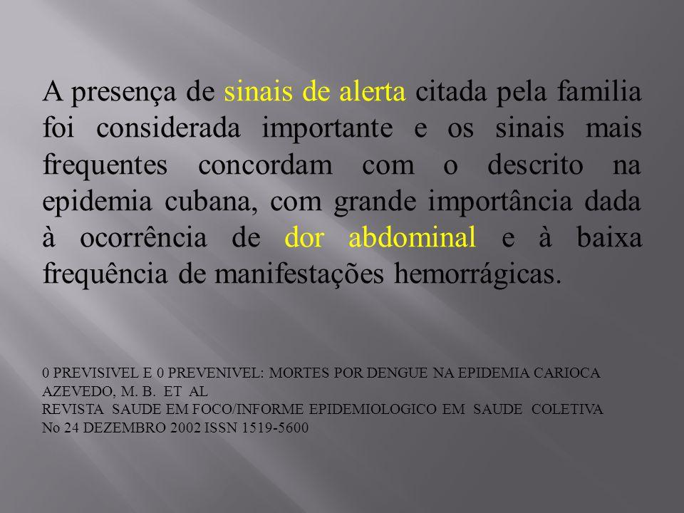 A presença de sinais de alerta citada pela familia foi considerada importante e os sinais mais frequentes concordam com o descrito na epidemia cubana,