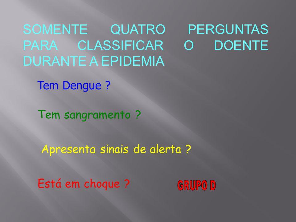 SOMENTE QUATRO PERGUNTAS PARA CLASSIFICAR O DOENTE DURANTE A EPIDEMIA Tem Dengue .