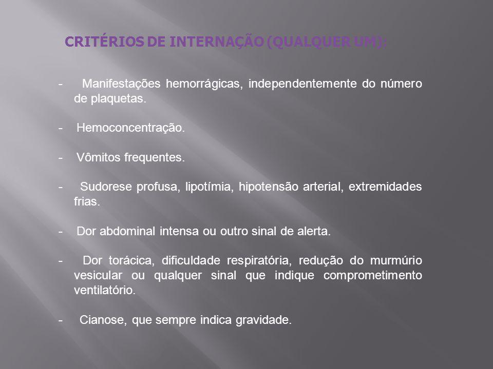 CRITÉRIOS DE INTERNAÇÃO (QUALQUER UM): - Manifestações hemorrágicas, independentemente do número de plaquetas. - Hemoconcentração. - Vômitos frequente