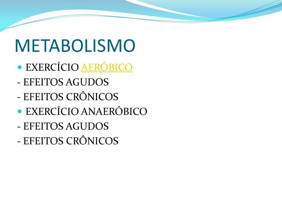 METABOLISMO EXERCÍCIO AERÓBICOAERÓBICO - EFEITOS AGUDOS - EFEITOS CRÔNICOS EXERCÍCIO ANAERÓBICO - EFEITOS AGUDOS - EFEITOS CRÔNICOS
