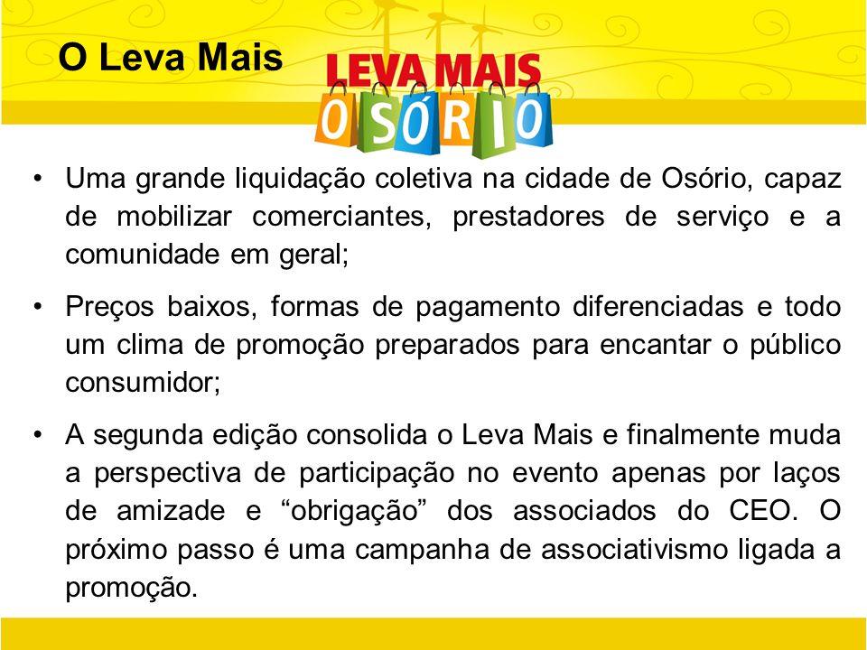O Leva Mais Uma grande liquidação coletiva na cidade de Osório, capaz de mobilizar comerciantes, prestadores de serviço e a comunidade em geral; Preço