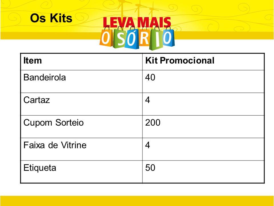 Os Kits ItemKit Promocional Bandeirola40 Cartaz4 Cupom Sorteio200 Faixa de Vitrine4 Etiqueta50