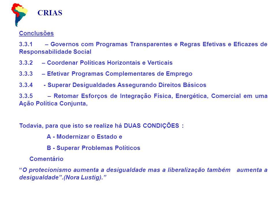 CRIAS Conclusões 3.3.1 – Governos com Programas Transparentes e Regras Efetivas e Eficazes de Responsabilidade Social 3.3.2 – Coordenar Políticas Hori