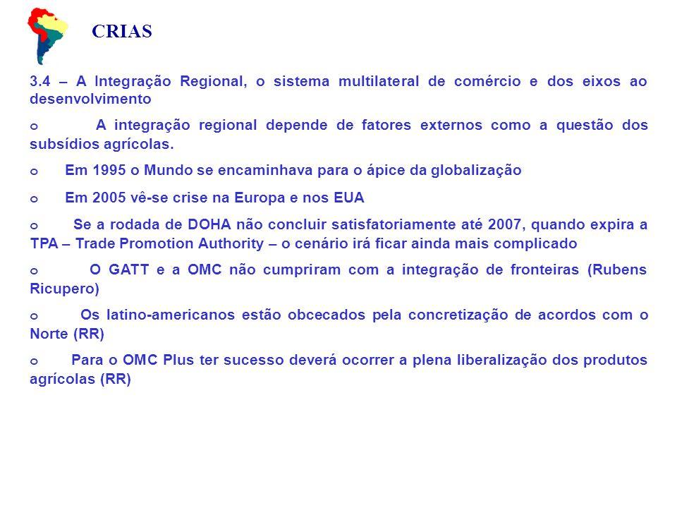 CRIAS 3.4 – A Integração Regional, o sistema multilateral de comércio e dos eixos ao desenvolvimento o A integração regional depende de fatores externos como a questão dos subsídios agrícolas.