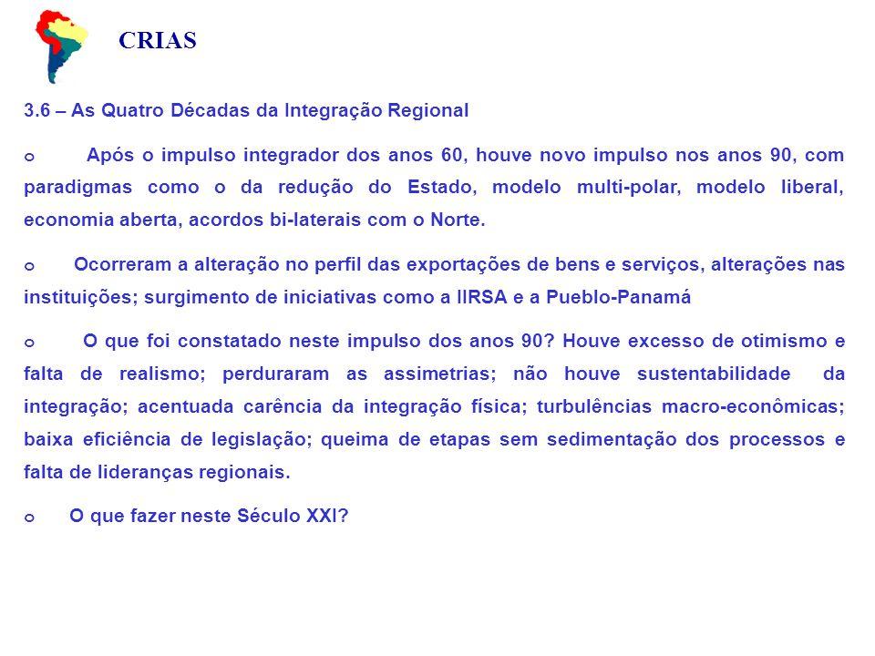CRIAS 3.6 – As Quatro Décadas da Integração Regional o Após o impulso integrador dos anos 60, houve novo impulso nos anos 90, com paradigmas como o da