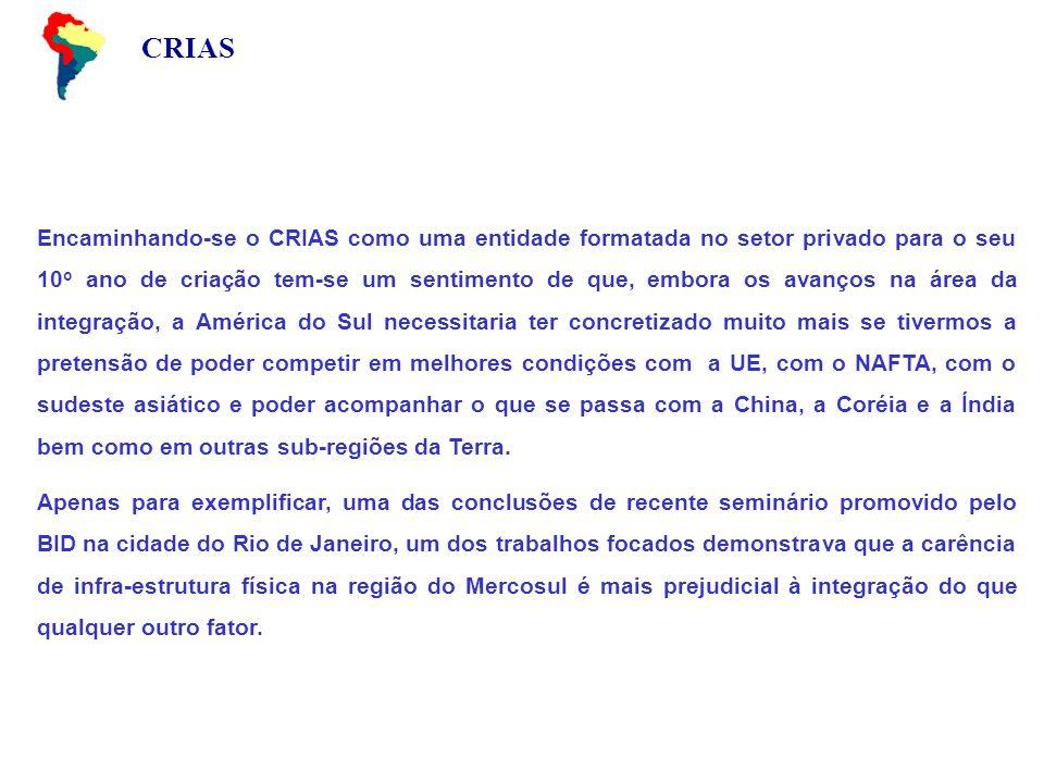 CRIAS Encaminhando-se o CRIAS como uma entidade formatada no setor privado para o seu 10 o ano de criação tem-se um sentimento de que, embora os avanç