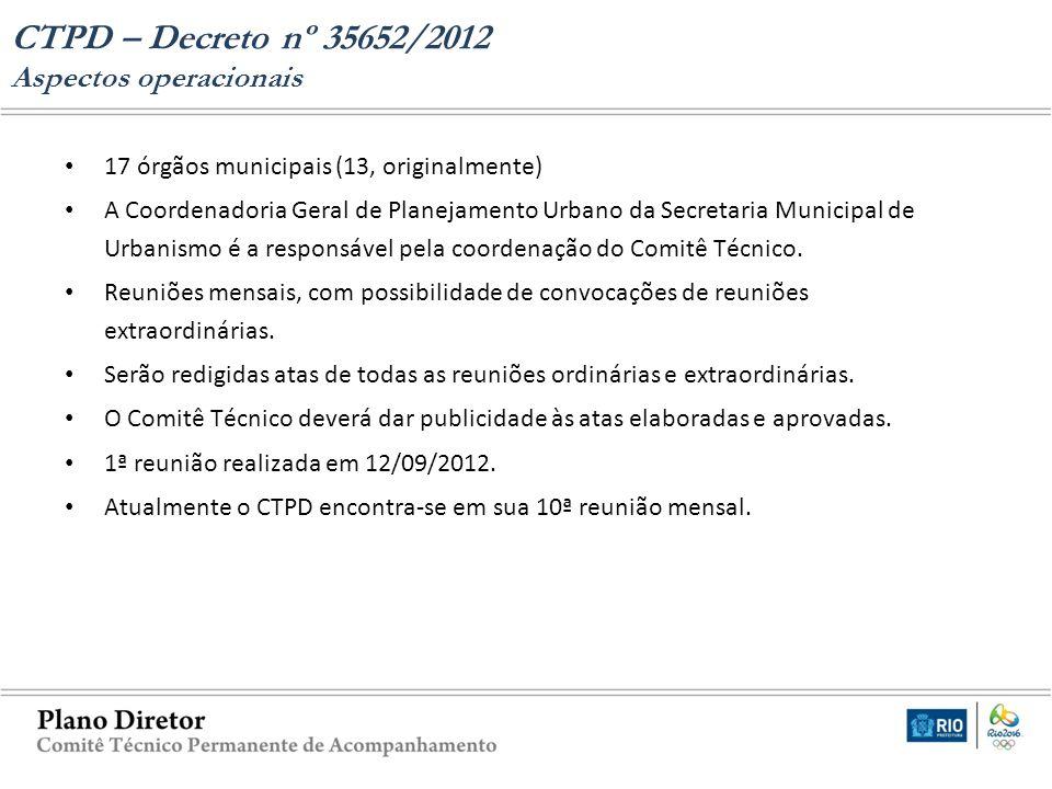 17 órgãos municipais (13, originalmente) A Coordenadoria Geral de Planejamento Urbano da Secretaria Municipal de Urbanismo é a responsável pela coorde