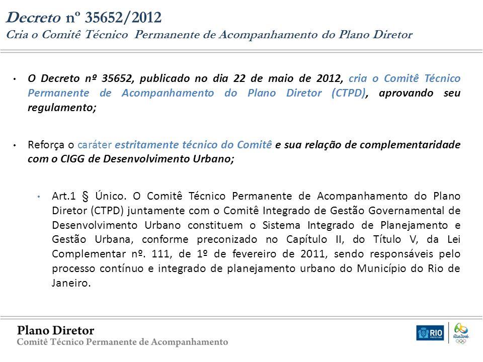 O Decreto nº 35652, publicado no dia 22 de maio de 2012, cria o Comitê Técnico Permanente de Acompanhamento do Plano Diretor (CTPD), aprovando seu reg