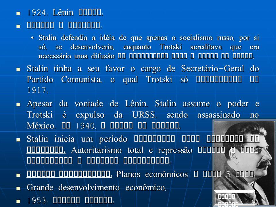 Josef Stalin 1924: Lênin morre; Stalin X Trotski: Stalin defendia a idéia de que apenas o socialismo russo, por si só, se desenvolveria, enquanto Trot
