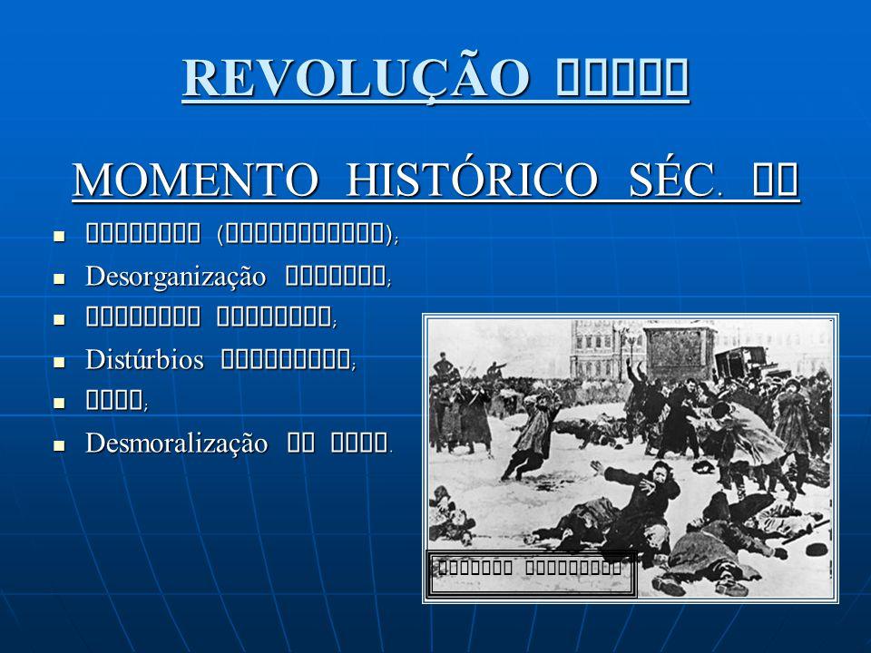 REVOLUÇÃO RUSSA MOMENTO HISTÓRICO SÉC. XX Czarismo (absolutismo); Desorganização militar; Economia atrasada; Distúrbios populares; Fome; Desmoralizaçã