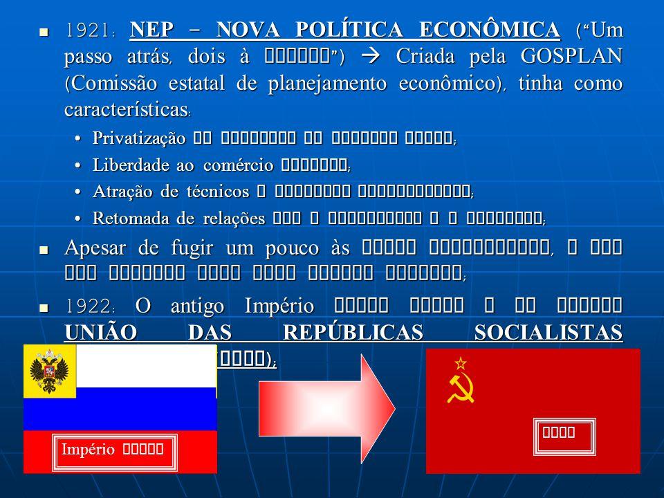 1921: NEP – NOVA POLÍTICA ECONÔMICA (Um passo atrás, dois à frente) Criada pela GOSPLAN (Comissão estatal de planejamento econômico), tinha como carac