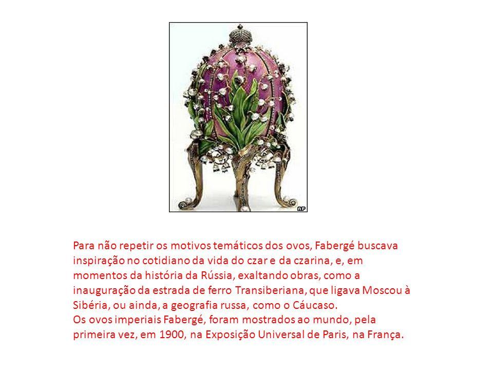 Para não repetir os motivos temáticos dos ovos, Fabergé buscava inspiração no cotidiano da vida do czar e da czarina, e, em momentos da história da Rú