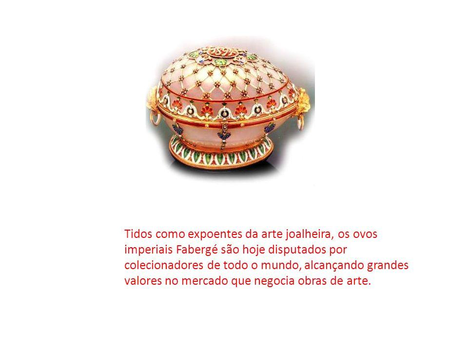 Tidos como expoentes da arte joalheira, os ovos imperiais Fabergé são hoje disputados por colecionadores de todo o mundo, alcançando grandes valores n