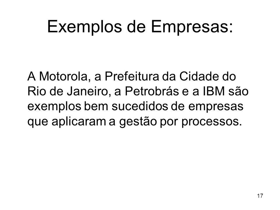 17 Exemplos de Empresas: A Motorola, a Prefeitura da Cidade do Rio de Janeiro, a Petrobrás e a IBM são exemplos bem sucedidos de empresas que aplicara