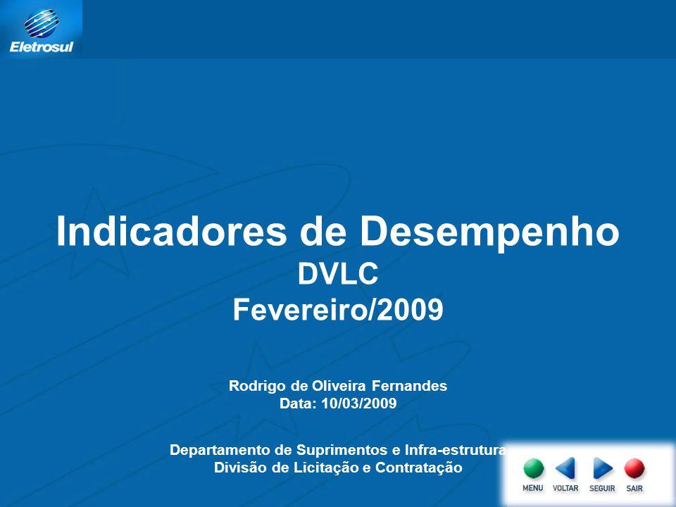 Indicadores de Desempenho DVLC Fevereiro/2009 Rodrigo de Oliveira Fernandes Data: 10/03/2009 Departamento de Suprimentos e Infra-estrutura Divisão de Licitação e Contratação