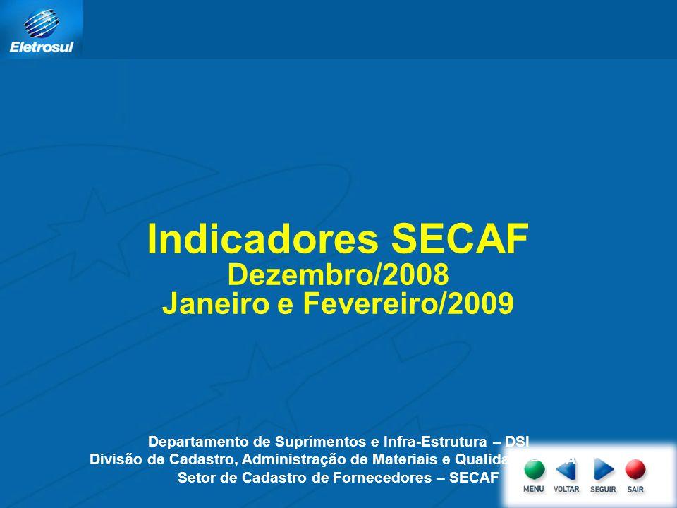Indicadores SECAF Dezembro/2008 Janeiro e Fevereiro/2009 Departamento de Suprimentos e Infra-Estrutura – DSI Divisão de Cadastro, Administração de Materiais e Qualidade – DCAQ Setor de Cadastro de Fornecedores – SECAF