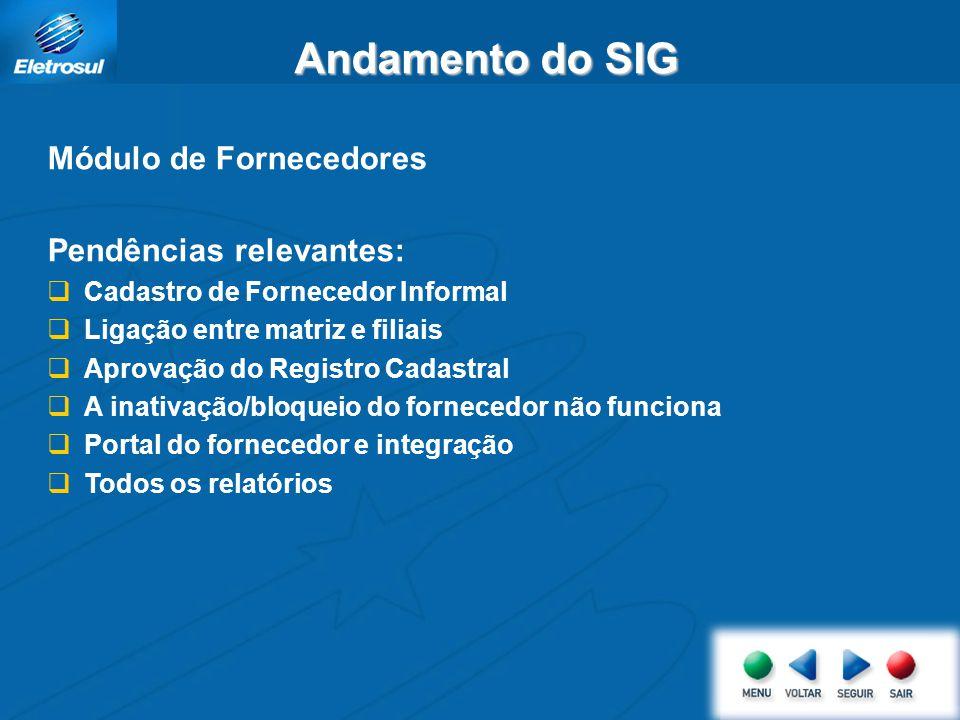 Andamento do SIG Módulo de Fornecedores Pendências relevantes: Cadastro de Fornecedor Informal Ligação entre matriz e filiais Aprovação do Registro Ca