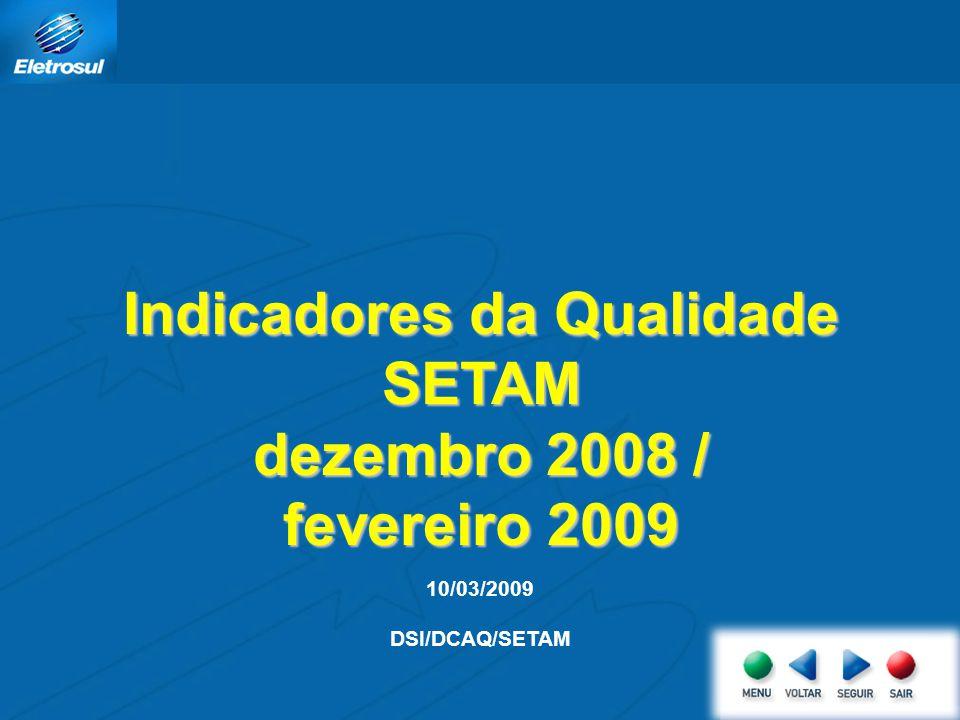 10/03/2009 DSI/DCAQ/SETAM Indicadores da Qualidade SETAM dezembro 2008 / fevereiro 2009