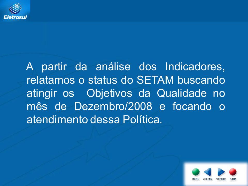 A partir da análise dos Indicadores, relatamos o status do SETAM buscando atingir os Objetivos da Qualidade no mês de Dezembro/2008 e focando o atendi