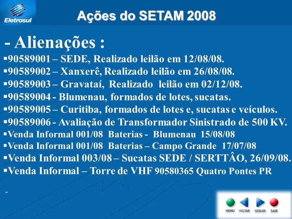 Ações do SETAM 2008 - Alienações : 90589001 – SEDE, Realizado leilão em 12/08/08. 90589002 – Xanxerê, Realizado leilão em 26/08/08. 90589003 – Gravata