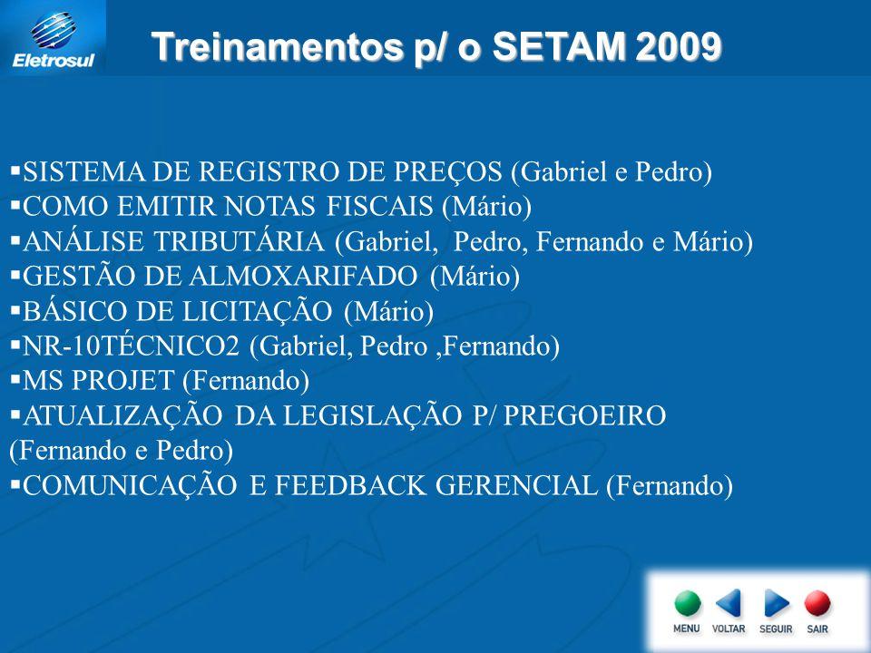 Treinamentos p/ o SETAM 2009 SISTEMA DE REGISTRO DE PREÇOS (Gabriel e Pedro) COMO EMITIR NOTAS FISCAIS (Mário) ANÁLISE TRIBUTÁRIA (Gabriel, Pedro, Fernando e Mário) GESTÃO DE ALMOXARIFADO (Mário) BÁSICO DE LICITAÇÃO (Mário) NR-10TÉCNICO2 (Gabriel, Pedro,Fernando) MS PROJET (Fernando) ATUALIZAÇÃO DA LEGISLAÇÃO P/ PREGOEIRO (Fernando e Pedro) COMUNICAÇÃO E FEEDBACK GERENCIAL (Fernando)
