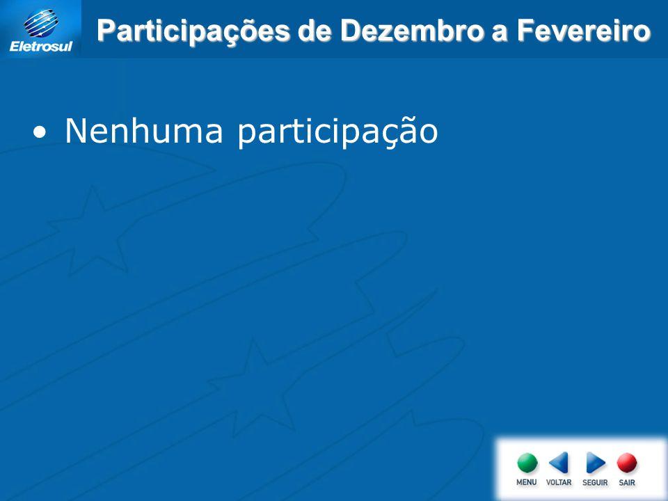 Participações de Dezembro a Fevereiro Nenhuma participação
