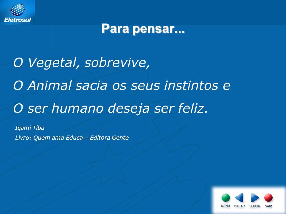 Para pensar... O Vegetal, sobrevive, O Animal sacia os seus instintos e O ser humano deseja ser feliz. Içami Tiba Livro: Quem ama Educa – Editora Gent