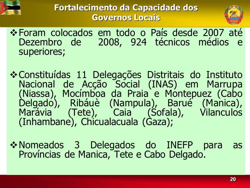 2020 Fortalecimento da Capacidade dos Governos Locais Foram colocados em todo o País desde 2007 até Dezembro de 2008, 924 técnicos médios e superiores; Constituídas 11 Delegações Distritais do Instituto Nacional de Acção Social (INAS) em Marrupa (Niassa), Mocímboa da Praia e Montepuez (Cabo Delgado), Ribáuè (Nampula), Barué (Manica), Marávia (Tete), Caia (Sofala), Vilanculos (Inhambane), Chicualacuala (Gaza); Nomeados 3 Delegados do INEFP para as Províncias de Manica, Tete e Cabo Delgado.