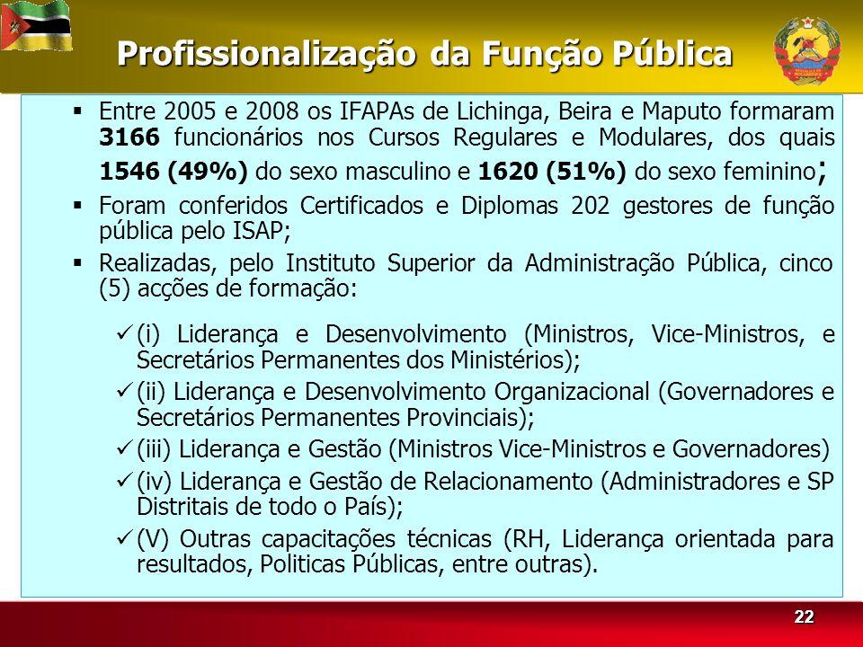 2222 Profissionalização da Função Pública Entre 2005 e 2008 os IFAPAs de Lichinga, Beira e Maputo formaram 3166 funcionários nos Cursos Regulares e Modulares, dos quais 1546 (49%) do sexo masculino e 1620 (51%) do sexo feminino ; Foram conferidos Certificados e Diplomas 202 gestores de função pública pelo ISAP; Realizadas, pelo Instituto Superior da Administração Pública, cinco (5) acções de formação: (i) Liderança e Desenvolvimento (Ministros, Vice-Ministros, e Secretários Permanentes dos Ministérios); (ii) Liderança e Desenvolvimento Organizacional (Governadores e Secretários Permanentes Provinciais); (iii) Liderança e Gestão (Ministros Vice-Ministros e Governadores) (iv) Liderança e Gestão de Relacionamento (Administradores e SP Distritais de todo o País); (V) Outras capacitações técnicas (RH, Liderança orientada para resultados, Politicas Públicas, entre outras).