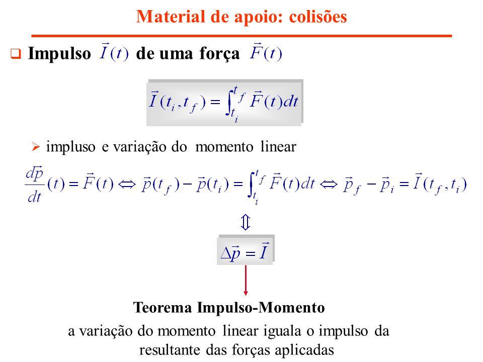Material de apoio: colisões força média força média – força constante que fornece o mesmo impulso, no mesmo t, que Aproximação Impulso quando, durante um curto intervalo de tempo, uma força (ou mais) é muito mais intensa do que as restantes a variação do momento linear é aproximadamente dada apenas pelo impulso dessa(s) força(s) nesse intervalo de tempo