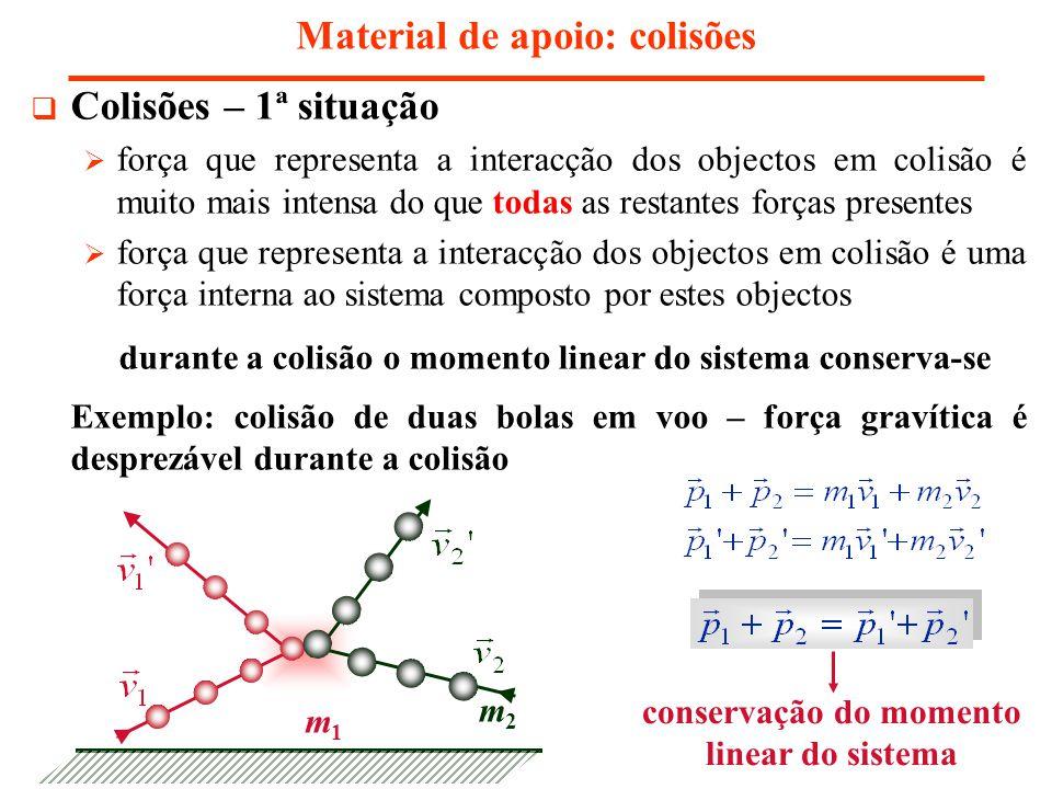 Material de apoio: colisões Colisões – 1ª situação força que representa a interacção dos objectos em colisão é muito mais intensa do que todas as restantes forças presentes força que representa a interacção dos objectos em colisão é uma força interna ao sistema composto por estes objectos durante a colisão o momento linear do sistema conserva-se Exemplo: colisão de duas bolas em voo – força gravítica é desprezável durante a colisão conservação do momento linear do sistema m1m1 m2m2