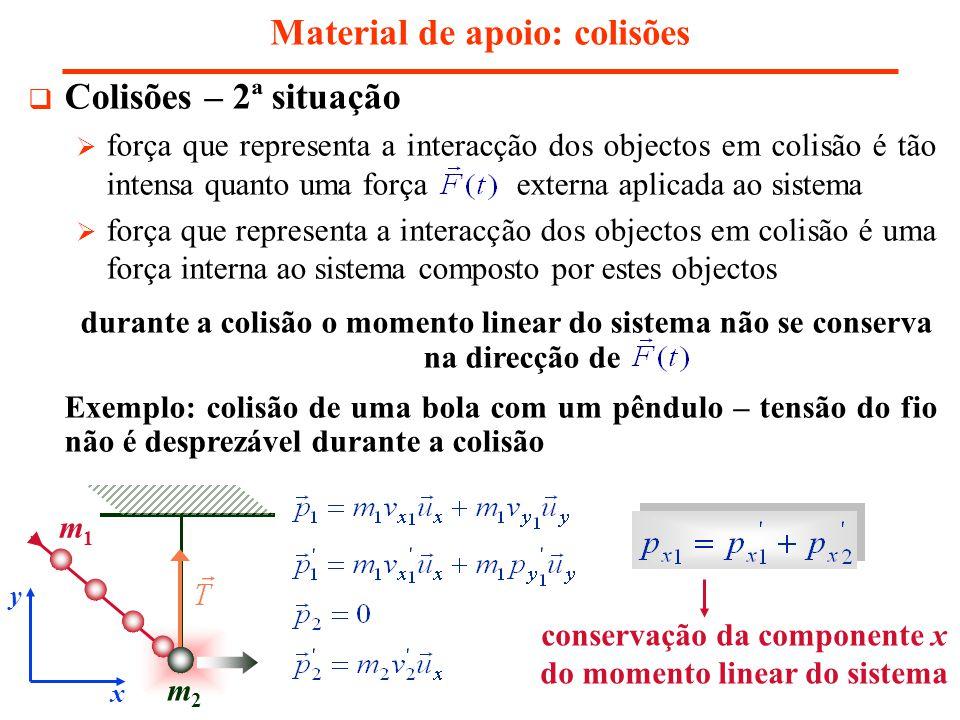 Material de apoio: colisões Colisões – 2ª situação força que representa a interacção dos objectos em colisão é tão intensa quanto uma força externa aplicada ao sistema força que representa a interacção dos objectos em colisão é uma força interna ao sistema composto por estes objectos durante a colisão o momento linear do sistema não se conserva na direcção de Exemplo: colisão de uma bola com um pêndulo – tensão do fio não é desprezável durante a colisão conservação da componente x do momento linear do sistema x y m1m1 m2m2