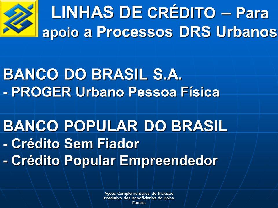 Açoes Complementares de Inclusao Produtiva dos Beneficiarios do Bolsa Familia LINHAS DE CRÉDITO – Para apoio a Processos DRS Urbanos BANCO DO BRASIL S.A.