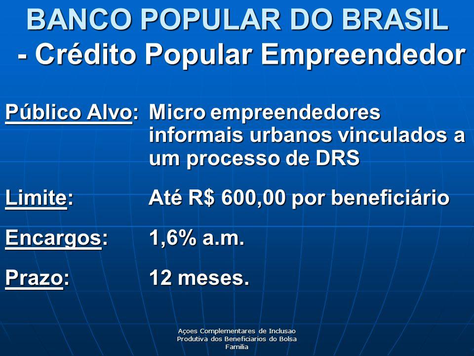 Açoes Complementares de Inclusao Produtiva dos Beneficiarios do Bolsa Familia Público Alvo: Micro empreendedores informais urbanos vinculados a um processo de DRS Limite: Até R$ 600,00 por beneficiário Encargos: 1,6% a.m.