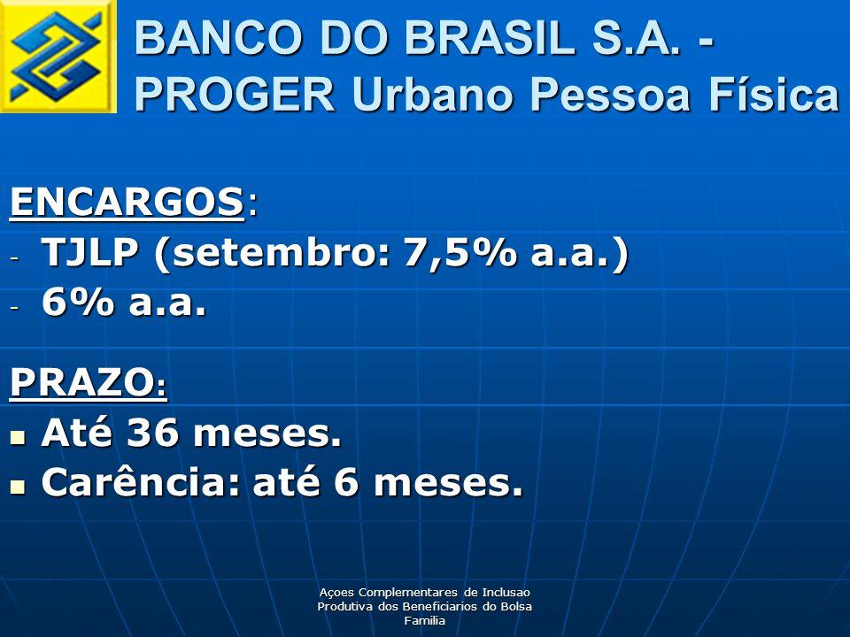 Açoes Complementares de Inclusao Produtiva dos Beneficiarios do Bolsa Familia ENCARGOS: - TJLP (setembro: 7,5% a.a.) - 6% a.a.