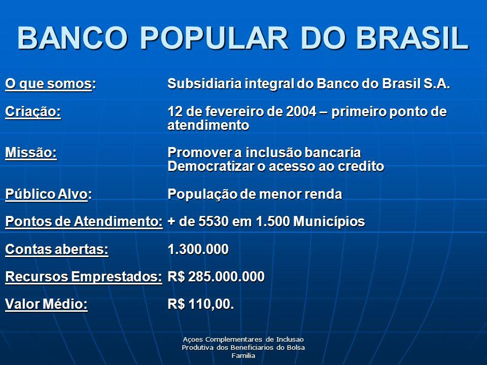Açoes Complementares de Inclusao Produtiva dos Beneficiarios do Bolsa Familia BANCO POPULAR DO BRASIL O que somos:Subsidiaria integral do Banco do Brasil S.A.