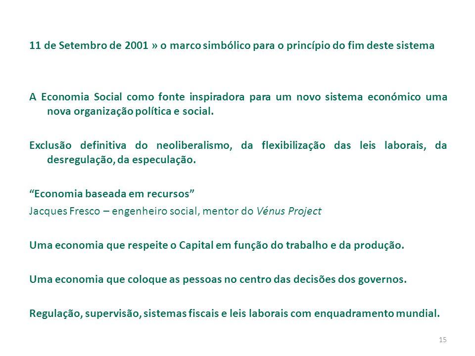 15 11 de Setembro de 2001 » o marco simbólico para o princípio do fim deste sistema A Economia Social como fonte inspiradora para um novo sistema económico uma nova organização política e social.