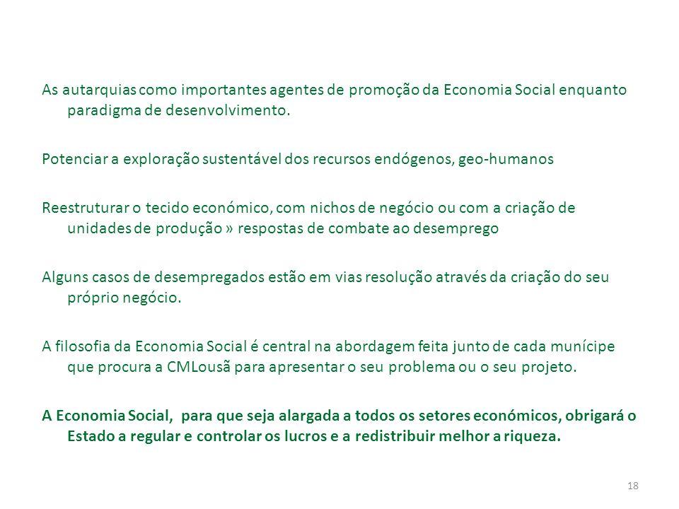 18 As autarquias como importantes agentes de promoção da Economia Social enquanto paradigma de desenvolvimento.