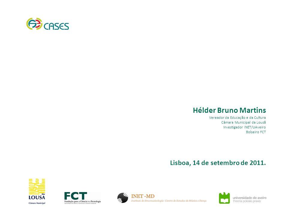 Hélder Bruno Martins Vereador da Educação e da Cultura Câmara Municipal da Lousã Investigador INET/UAveiro Bolseiro FCT Lisboa, 14 de setembro de 2011.