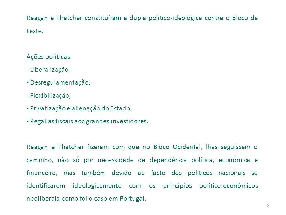 6 Reagan e Thatcher constituíram a dupla político-ideológica contra o Bloco de Leste.